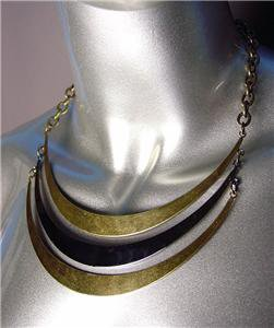 UNIQUE Antique Burnished Gold Hematite Metal Layered Drape Necklace Set
