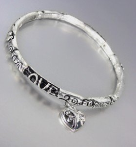 Inspirational Silver CZ Crystal Heart Charm LOVE Stretch Stackable Bracelet