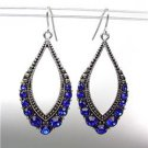 SPARKLE Antique Silver Metal CZ Sapphire Blue Crystals Tear Drop Dangle Earrings