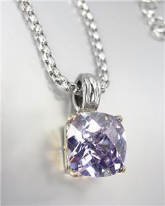 Designer Silver Gold BALINESE Lavender Amethyst CZ Crystal Pendant Necklace