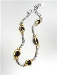 GORGEOUS Designer Style Silver Box Chain Cable Black Onyx CZ Crystals Bracelet