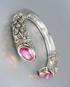 STUNNING Designer Inspired Pink Rose CZ Crystals Balinese Cuff Bracelet