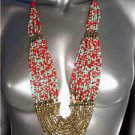 "GORGEOUS Urban Anthropologie Coral Red Turquoise Brass Beads 30"" Necklace Set"