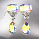 STUNNING Iridescent AB Czech Crystals Bridal Queen Pageant Prom CLIP Earring 671