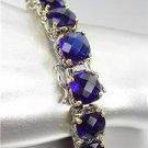 Designer Silver Gold Balinese Dark Sapphire Blue CZ Crystals Links Bracelet
