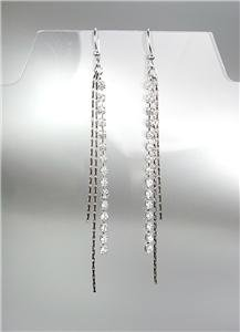 "CHIC Lightweight 4"" Long Drippy Silver Chains Rhinestones CZ Crystal Earrings"
