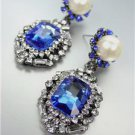 GORGEOUS Urban Anthropologie Emerald Sapphire Crystal Pearl Antique Earrings