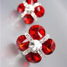 EXQUISITE Ruby Red Czech Crystals Bridal Prom Pageant Queen CLIP Earrings