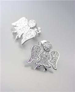 INSPIRATIONAL 18kt White Gold Plated CZ Crystals Guardian Angel Post Earrings