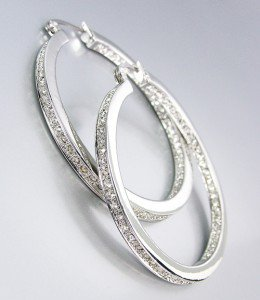 CLASSIC 18kt White Gold Plated Inside Outside CZ Crystals Hoop Earrings