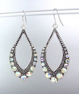 SPARKLE Antique Silver Metal CZ Iridescent AB Crystals Tear Drop Dangle Earrings