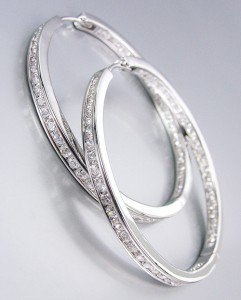 "CLASSIC Thin 18kt White Gold Plated Inside Outside CZ Crystals 1"" Hoop Earrings"