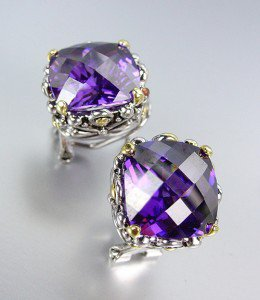 Designer Style Silver Gold Balinese Filigree Purple Amethyst CZ Crystal Earrings