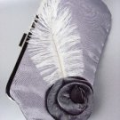 Chic Gray Satin Flower Bouquet Plume Feather Clutch Evening Purse Bag