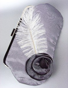 Chic Gray Satin Flower Bouquet Plume Feather Clutch Evening Purse Bag