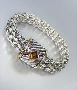 Designer Style Silver Cable Gold Brown Topaz Crystal Magnetic Mesh Bracelet