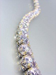 Designer Style Silver Gold Balinese Lavender Amethyst CZ Crystals Links Bracelet