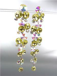 STUNNING Lemon Yellow Iridescent Czech Crystals WATERFALL Dangle Earrings