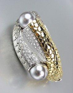 Designer Style Gold Kali Silver Weave CZ Crystals Gray Pearls Bangle Bracelet