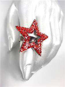 SHIMMERY SPARKLE Red Crystals Gun Metal STAR Cocktail Ring