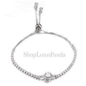 EXQUISITE 18kt White Gold Plated Princess CZ Crystal Crystals Links Bracelet