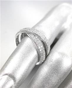 SHIMMERY 18kt White Gold Plated CZ Crystals 2 Intertwined Eternity Bands Ring