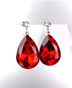 GLITZY SPARKLE Red Tear Drop Czech Crystal Bridal Queen Pageant Post Earrings