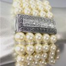 CLASSIC Designer Style Silver Cable CZ Crystals Creme Pearls Magnetic Bracelet