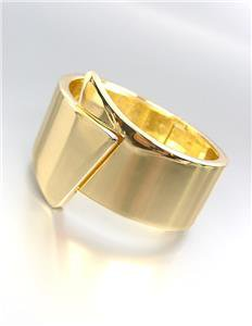 CHIC & MODERN Sculpted Smooth Gold Metal Hinged Bangle Bracelet