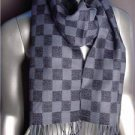 NEW Designer Style Gray MONOGRAM Check Print CASHMERE TOUCH 100% Acrylic Scarf