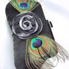 Silky Black Satin Flower Peacock Feathers Clutch Evening Purse Bag
