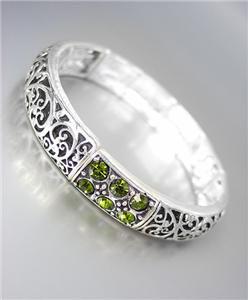 NEW Brighton Bay Olive Green CZ Crystals Silver Black Filigree Stretch Bracelet