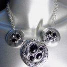 CLASSIC Brighton Bay Antique Silver Filigree Black Onyx Beads Drape Necklace Set