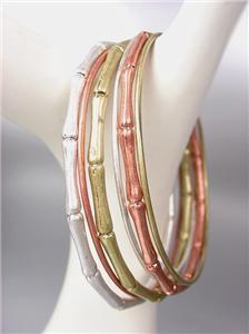 SILVER GOLD COPPER 6 PC Bamboo Motif Thin Metal OVAL Bangles Bracelet