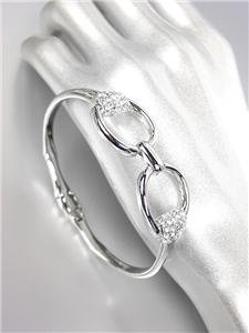 CHIC Designer Style Silver CZ Crystals Horsebit Buckle Magnetic Clasp Bracelet