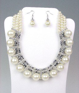 GLITZY Creme Pearls HEMATITE Crystals Drape Necklace Earrings Set BRIDAL