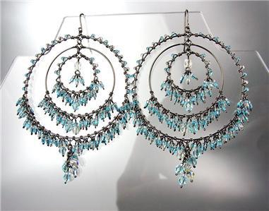 FABULOUS Blue Topaz Crystals Antique Metal Chandelier Dangle Peruvian Earrings