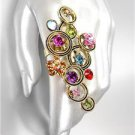 BOLD UNIQUE Chunky Multicolor Crystals Antique Gold Long Elongated Cocktail Ring