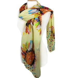 EXPRESSIVE Silky Lightweight Multi Floral Polka Dots Light Yellow Fashion Scarf