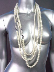 Designer Style Creme Pearls Hematite Crystals Long Layered Necklace Earrings Set