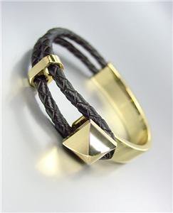 CHIC Designer Style Gold Plated Braided Black Leather Cord LOOP Toggle Bracelet