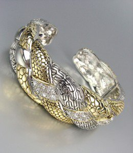 Designer Style Silver Gold Weave Texture CZ Crystals Sculpted Cuff Bracelet