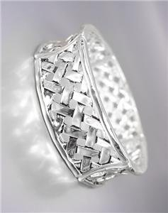 CLASSIC Brighton Bay Silver BALINESE Lattice Weave Links Stretch Bracelet