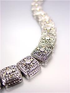 GORGEOUS Designer BALINESE Silver Gold CZ Crystals Links Magnetic Clasp Bracelet