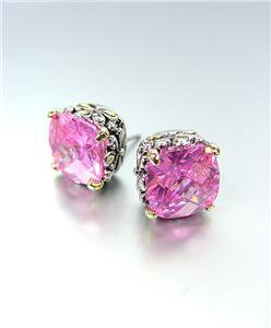 Designer PETITE Silver Gold Balinese Filigree Pink Quartz CZ Crystal Earrings