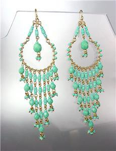 EXQUISITE Aqua Blue Aventurine Crystals Gold Chandelier Dangle Peruvian Earrings