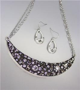 SPARKLE Smoky Gray Black CZ Crystals Black Resin Necklace Earrings Set