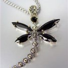 Designer Inspired Chunky Black Onyx CZ Crystals Balinese Dragonfly Necklace