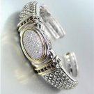 CLASSIC Oval Pave CZ Crystals Center Balinese Silver Scale Hinged Cuff Bracelet