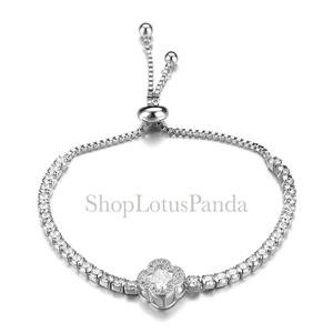 EXQUISITE 18kt White Gold Plated CZ Crystals Clover Crystal Links Chain Bracelet
